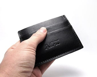 Black Leather Wallet, Man Wallet, Card Holder, Small Compact Wallet, Black leather, by Sakao on Etsy