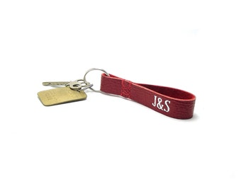 U & I, Personalized Leather Key Fob, Red Leather, Monogrammed