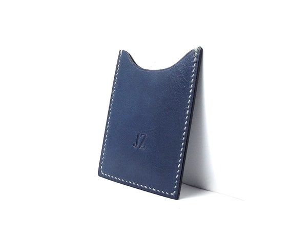 Monogrammed Dark Blue Leather card holder, Vertical, personalized, any word, date, initials