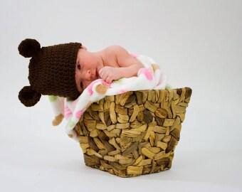 Newborn Photo Prop Teddy Bear - Baby Bear Newborn Hat - Bear Newborn Prop - Baby Bear Clothes - Baby Bear Hat - Newborn Photo Prop Bear