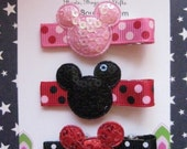 Shiny Minnie Mickey Inspired Mouse Hair Clip non slip Set of 3