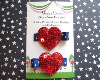 Shiny Patriotic Heart Hair Clip Non Slip Set of 2