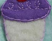 Cupcake Pin, lavender, frosting, cherry, sprinkles, plain