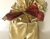 Reusable Gift Wrap - Furoshiki Style Round - Gold with Red