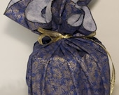Reusable Gift Wrap - Blue with Gold Speckle Sturdy Fabric - Furoshiki-Style Round - Eco-Friendly