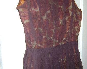 SALE beautiful vintage brown floral overlay party dress was 65.00