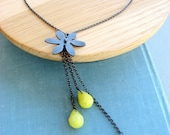 Oxidized Sterling silver Flower gemstone Necklace with yellow drops, Flower jewelry