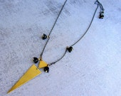 Geometric triangles gold brass long necklace. Oxidized sterling silver chain. Vintage black glass flowers