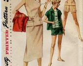 Simplicity 1124 Vintage 50s Versatile Outfit pattern with Shorts, Skirt and Tops