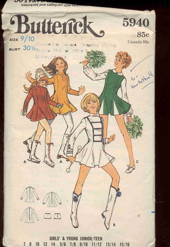 Butterick 5940 Vintage pattern for majorette, cheerleader or skate costume UNCUT