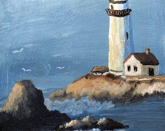 Lighthouse -  Small Original Acrylic Seascape