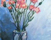 Pink Carnations Original Stil Life Oil Painting - 11x14in