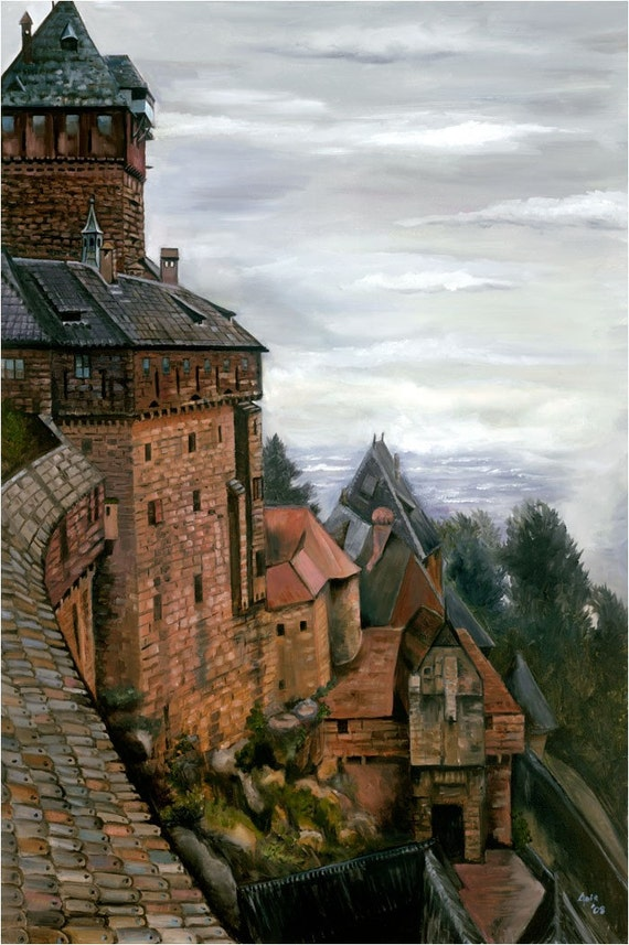 French Castle Oil Painting - 12x18in Giclee Print of Castle Painting