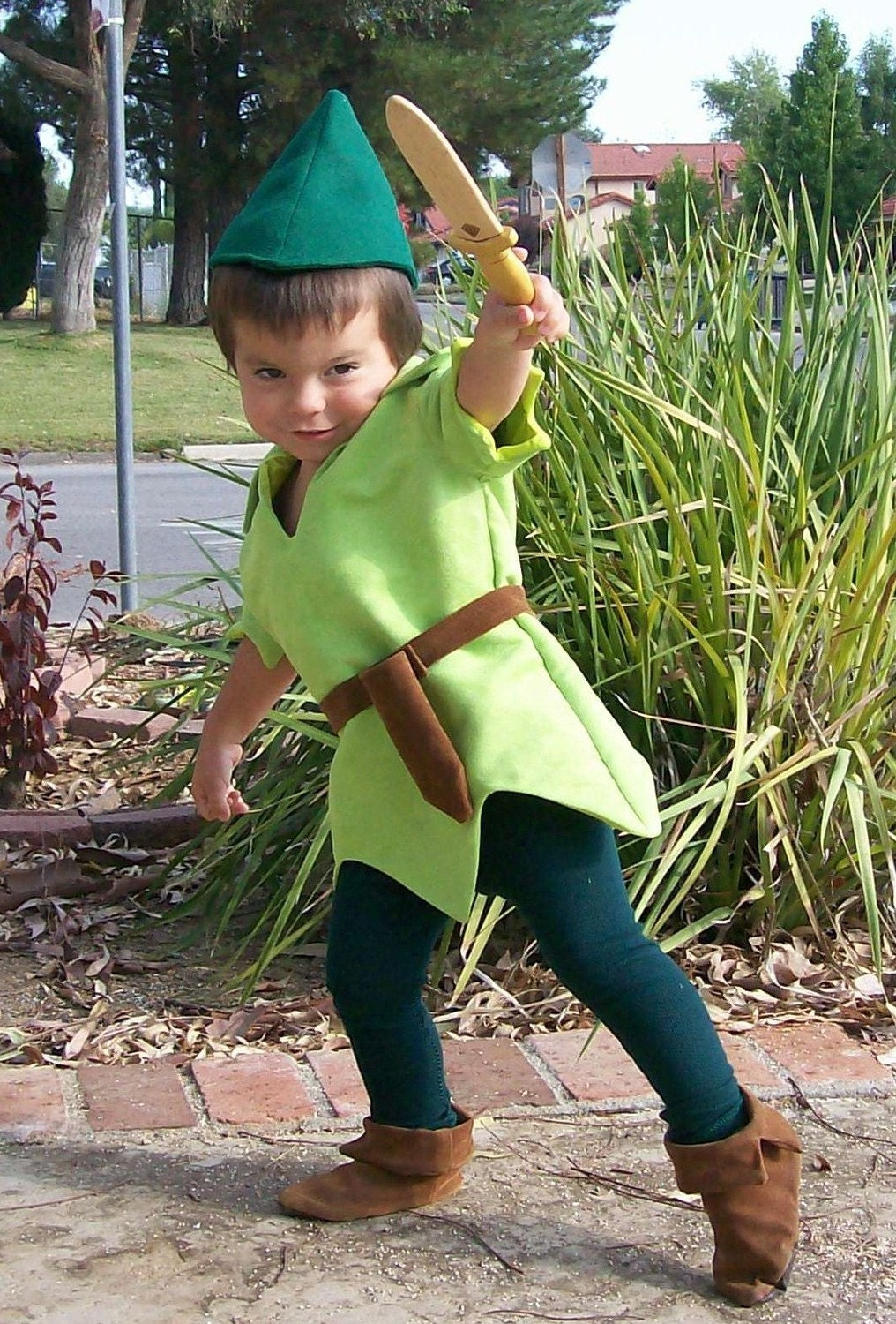 peter pan costume child size faux lime green suede tunic green. Black Bedroom Furniture Sets. Home Design Ideas