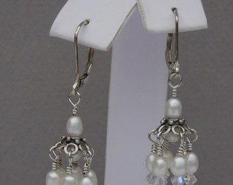 Sterling silver white pearl and crystal wire wrapped chandelier dangle earrings