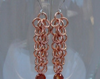 Chain maille earrings copper and Swarovski crystal fringe cascade