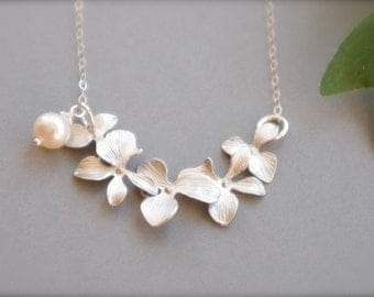 Floral Jewelry, Elegant Matte Silver Orchid Necklace for your White Summer Dress, Cascading Silver Flower Necklace, Mother's Day Gifts