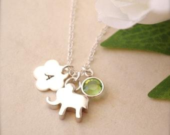 August Birthstone Necklace, Birthstone Initial Necklace, Sterling Silver Necklace, Initial Necklace, Birthstone Jewelry, Kids Jewelry