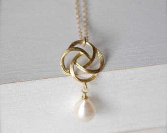 Rose Gold Pendant Necklace, Love Knot Gold Wedding Jewelry, Pearl Necklace Gifts for Mother of the Bride, Bridesmaids Gifts Pendant Necklace