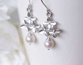 White Pearl Earrings for your White Summer Dress, Sterling Silver Modern Earrings, Nature Inspired Jewelry, Mother's Day Gifts