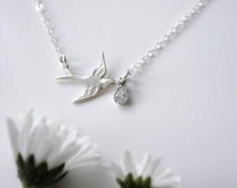 Silver Bird Necklace, Bird Jewelry, Bird Pendant, Swallow Bird Necklace, Flying Bird Necklace with Crystal Drop, Dainty Silver Necklace