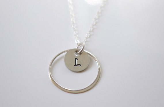 Silver Eternity Necklace, Personalized Infinity Necklace, Mother's Day Custom Necklace, Initial Disc Sterling Silver Circle Pendant Necklace
