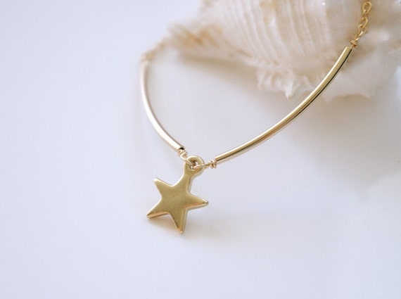 Unique Gold Star Necklace - Lucky Necklace - Star Bar Necklace - Friendship Necklace - Gold Geometric Jewelry - Minimalist Jewelry