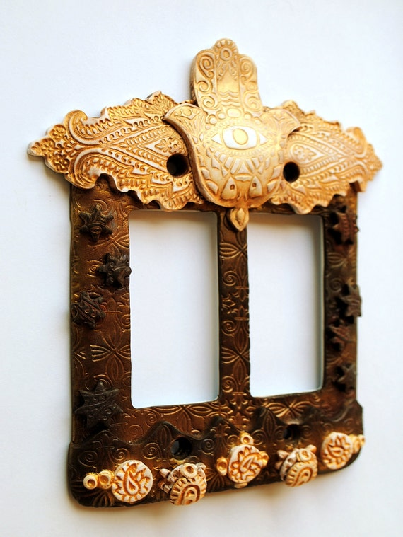 Hamsa and the Stars, decora light switch, double rocker switchplate, antique white and bronze colors