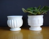 Milky Pair V - the Sweetest set of Two Milkglass Vases or Compotes - Very Opaque Milk Glass
