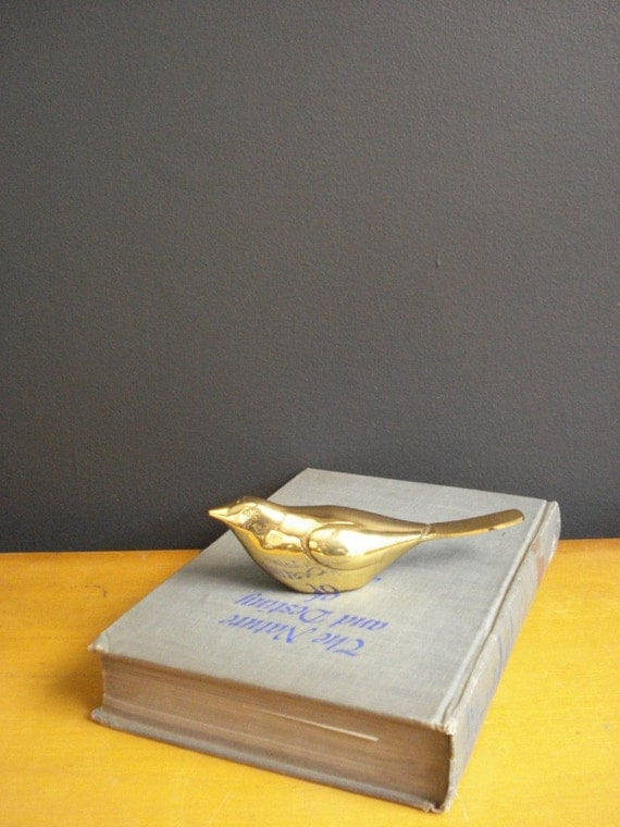 RESERVED for B - Brass Songbird - Vintage Brass Bird Figurine or Paperweight