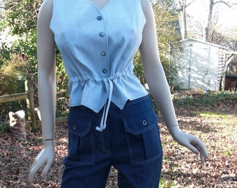 Womens 70s Vest/ Vintage Vest / Womens Vest/ Blue Vest with Drawstring Waist by  Robert Taboh Devon-Hall Size 12