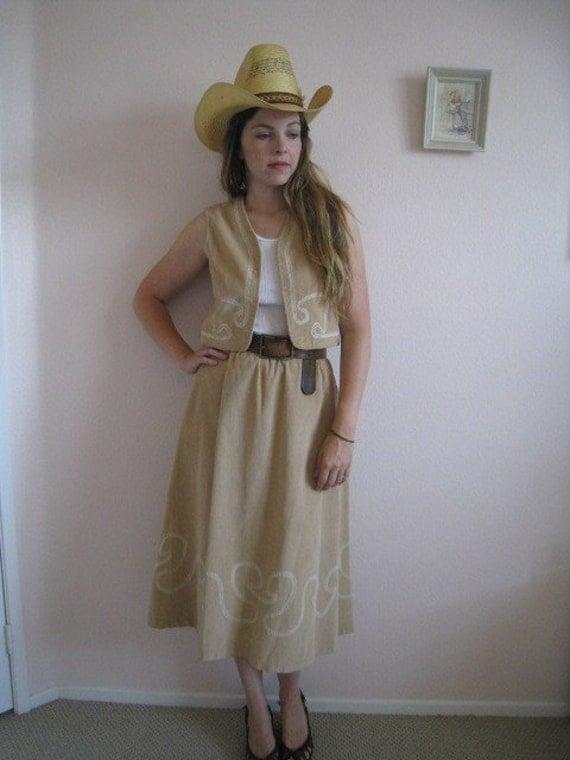 STOREWIDE SALE vintage H BAR C vest and skirt set