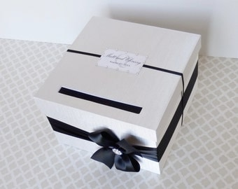 Wedding Card Box Black White Money Holder Customizable