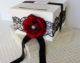 wedding card box ivory black lace red rose wedding money holder quality and originality counts