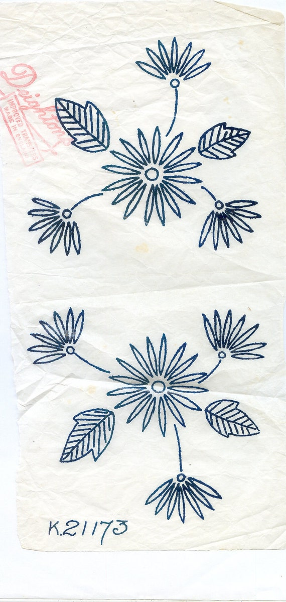 Vintage iron on embroidery transfer by thebrightonemporium