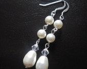 Pearl Earrings Bridal Swarovski Pearl Crystal Sterling Silver Dangle Drop Long Bridesmaid Earrings Wedding Jewelry Accessories Angelika