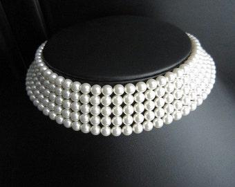 Swarovski Pearl Bridal Choker Multi Strand Necklace Wedding Jewelry White Classy Elegant Necklace Dilara