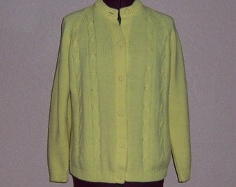 CLEARANCE Yellow Cardigan Yellow Sweater 1970s Cardigan 70s Cardigan 1970s Sweater 70s Sweater Grandpa Cardigan Granny Cardigan Size S M L