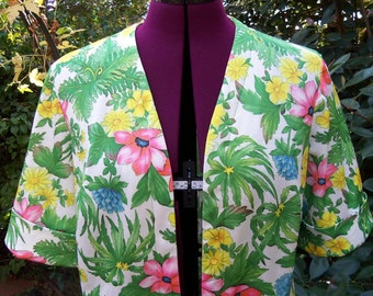 CLEARANCE Mod Jacket Floral Jacket Open Front Jacket Floral Jacket Polyester Top Retro Mad Men 1960s Jacket 1970s Jacket Checkaberry Size 18