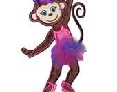Monkey Ballerina Applique Design