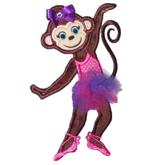 Monkey Ballerina Applique Design