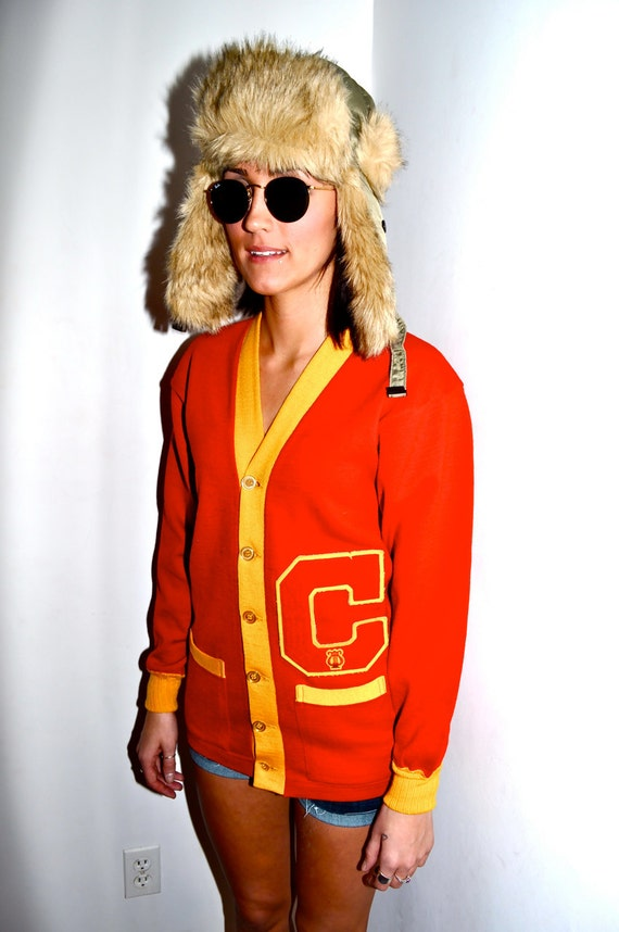 Make an Offer COLLEGIATE IVY LEAGUE 1960s Red and Yellow 6 Button Cardigan Sweater Varsity University College Mens Small S Letter C