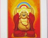 Zen Laughing Buddha Art spiritual Buddhist Maitraya Rainbow matted print of painting by Sue Halstenberg