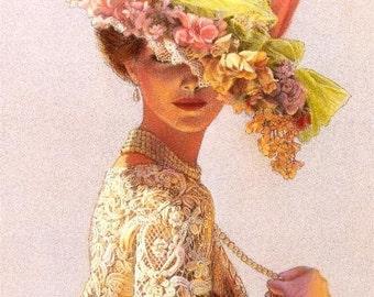 Victorian Lady flower hat art print ladies portrait lace fashion elegance poster of painting by Sue Halstenberg