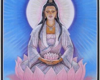 KWAN YIN art Spiritual print Buddha lotus Buddhist Zen Buddhism meditation Goddess 11x14 matted