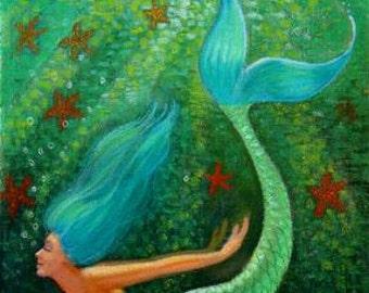 Blue hair Mermaid fantasy art, starfish, spiritual green sea Goddess, poster print of painting by Sue Halstenberg