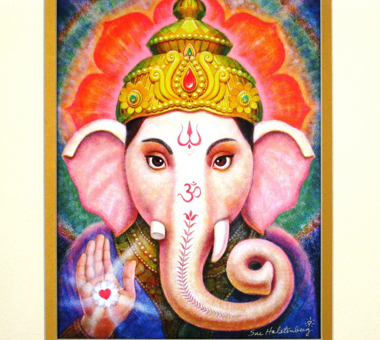 Ganesha Spiritual Art Hindu Elephant Buddha By HalstenbergStudio