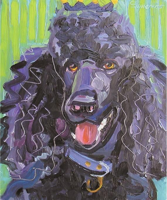 Black Poodle Art Print by Gena Semenov - FREE Shipping USA