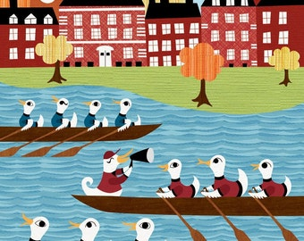 Ivy League Ducks Rowing - Harvard Princeton Yale - Rower Print - Archival Art Print Poster - Childrens Room Decor