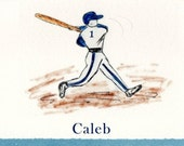 Baseball Player in Red 5 x 7 Greeting Card Suitable For Framing (Blue Deckle Not Available)